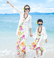 Fashion Mom And Daughter Lace cardigan Beach Dress braces skirt Women's Swimwear Mother Daughter Matching Hawaiian long Dresses