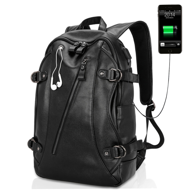 NEW Waterproof Backpack Men External USB Charge Computer School Bag PU Leather Travel Bag Casual Bagpack 15 Inch Laptop Rucksack