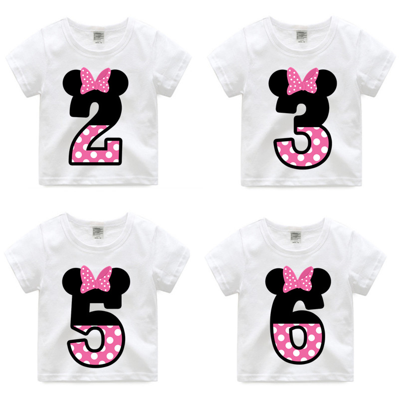 New Arrival,Girl Happy Birthday Letter Bow Cute Print T-shirts Kid Summer Tee Shirts Children Number 1-9 Funny Birthday Present