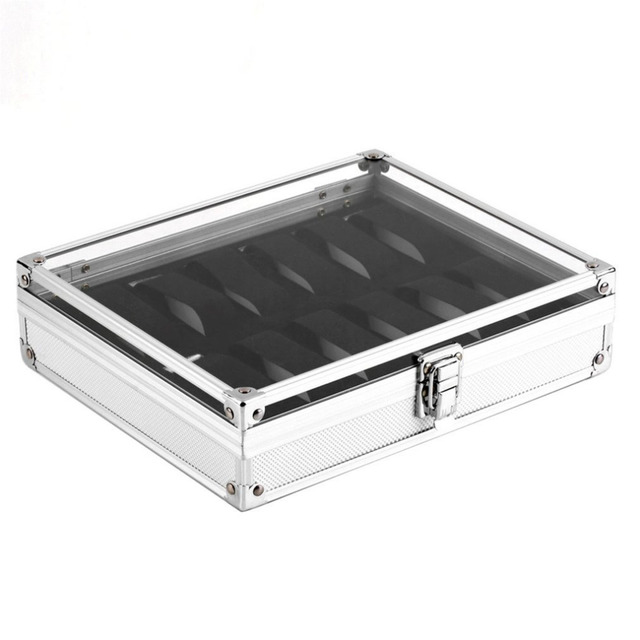 6/12 Grids Slots Aluminium Watches Box Jewelry Display Storage Square Case Suede