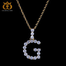 Hip Hop Jewelry Zircon Letters Necklaces & Pendant For Men/Women Gold Silver Color Fashion with Rope/Cuban Chain
