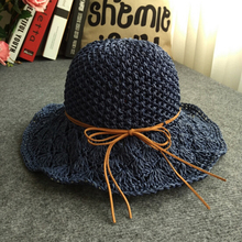 Rafi straw cap female beach  hood hollow summer hats for women same caps 2017 Casual Female Solid Sun bucket Hat
