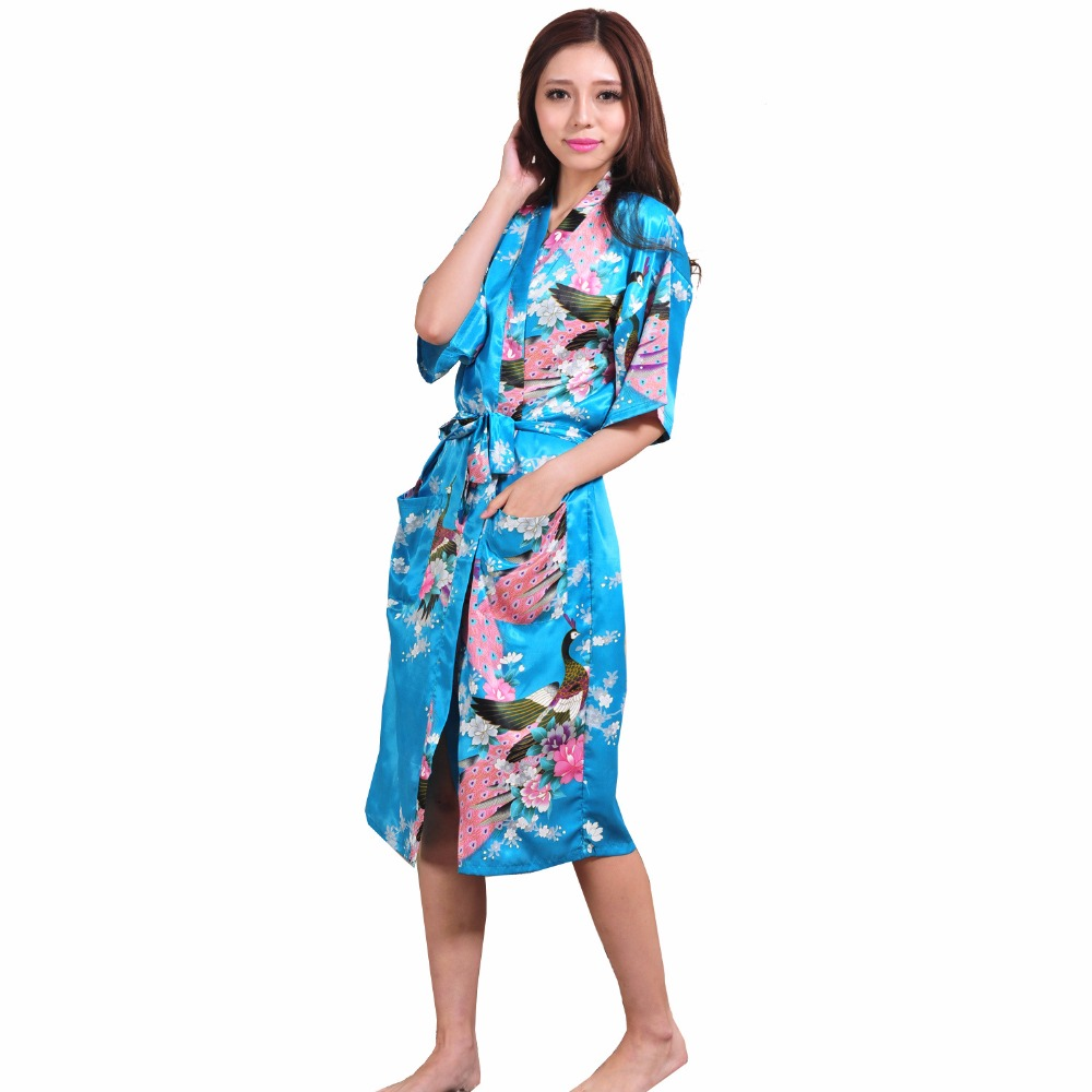 86 Plus Size XXXL Blue Chinese Female Silk Rayon Robe Kimono Night Gown Printed Peacock&Floral Sleepwear pijamas mujer S001-D