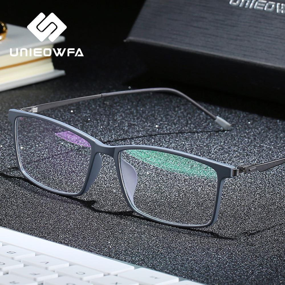 UNIEOWFA Ultralight TR90 Myopia Optical Glasses Frame Men Full Frame Rectangle Prescription Eyeglasses Frame Korean Spectacles