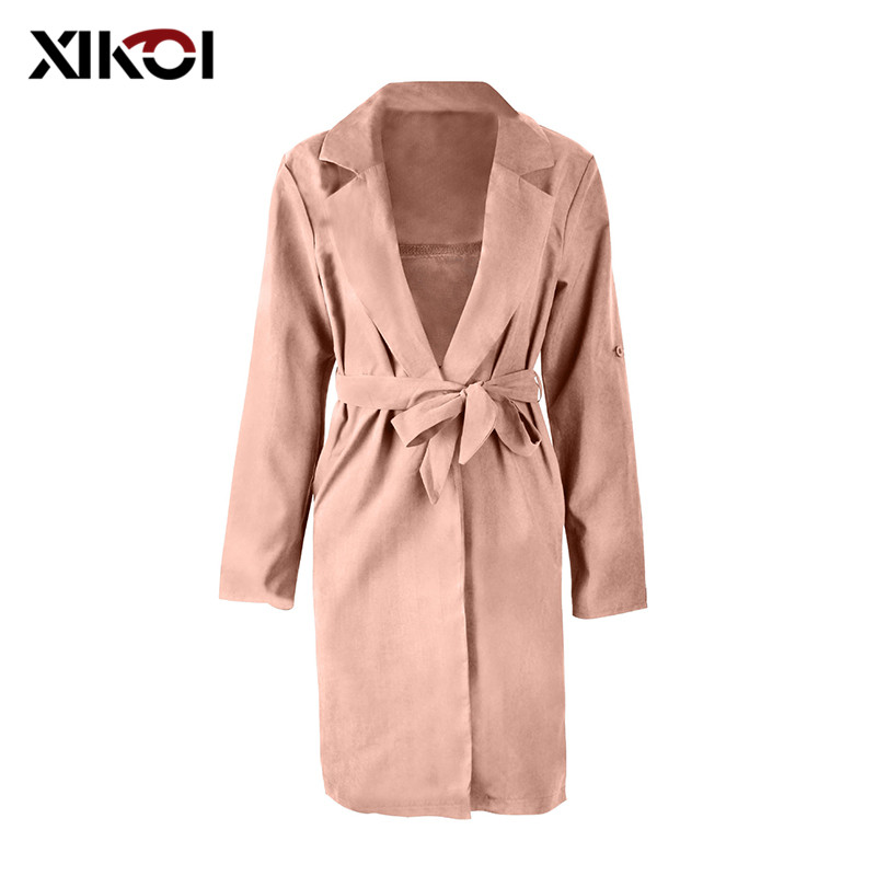 XIKOI Women Casual Trenchcoat Women Turn down Collar Slim   Trench   Outerwear Solid Color   Trench   coat Ladies Windbreaker Outwear