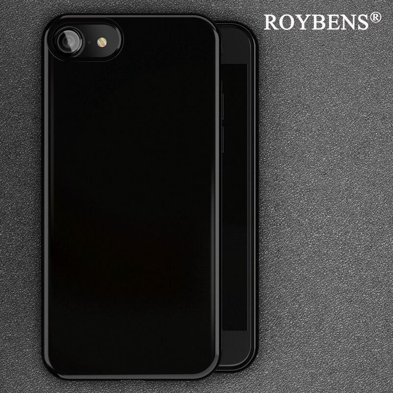 Roybens оригинальный Jet черный глянцевый ультра тонкий мягкий чехол для iPhone 7 Plus iPhone 7 чехол противоударный В виде ракушки кожи силиконовый чехо...