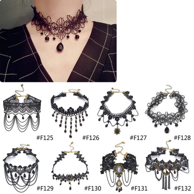 22964e2d55d0e Lychee Gothic Victorian Crystal Tassel Tattoo Choker Necklace Black Lace  Choker Collar Vintage Women Wedding Jewelry