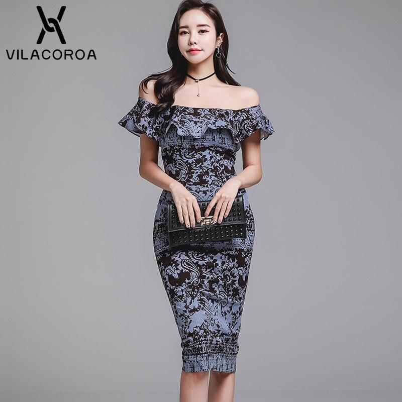 ed78270e09d223 Style Mode Sommer Knie Femme Hals Vestidos Sexy länge Kurzarm Koreanischen  Elegante 01 Kleid Print Slash Rüsche Robe Frauen E9YeWH2DI