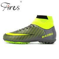 שריפות גבוהה קרסול גברים נעלי כדורגל TF/FG/AG מגפי כדורגל אימון קוצים ארוך קשה ללבוש כדורגל נעליים גבוהה למעלה כדורגל