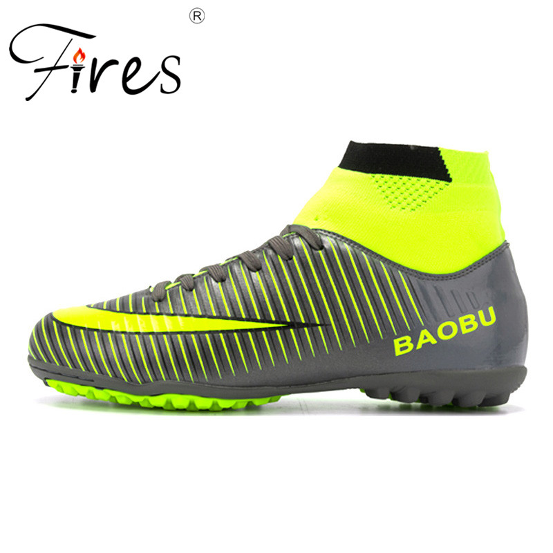 Fires High Ankle Men Football Shoes TF/FG/AG Long Spikes Training Football Boots Hard-wearing Soccer Shoes High Top Soccer maultby kid s boy children blue black ag sole outdoor cleats football boots shoes soccer cleats s31702b