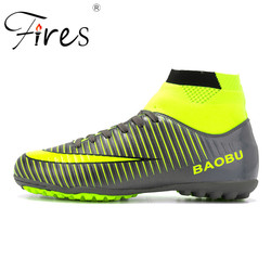 Fires High Ankle Men Football Shoes TF/FG/AG Long Spikes Training Football  Boots