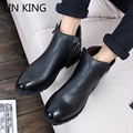 LIN REY Nueva Moda Hombre Martin Botas de Charol Zapatos de Los Hombres de Arranque Botines de Tobillo Negro de Primavera Cremallera de La Manera Ocasional zapatos
