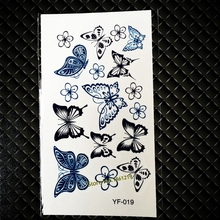 Black Blue Flash Temporary Tattoo Stickers GYF-019 Beautiful Butterfly Flowers Design Sexy Women Ladies Waterproof Fake Tattoos