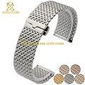 Thin Solid acero inoxidable reloj pulsera de la correa relojes de pulsera de Metal banda rosa oro plata cinturón de correa de reloj de la mariposa broche 22 mm