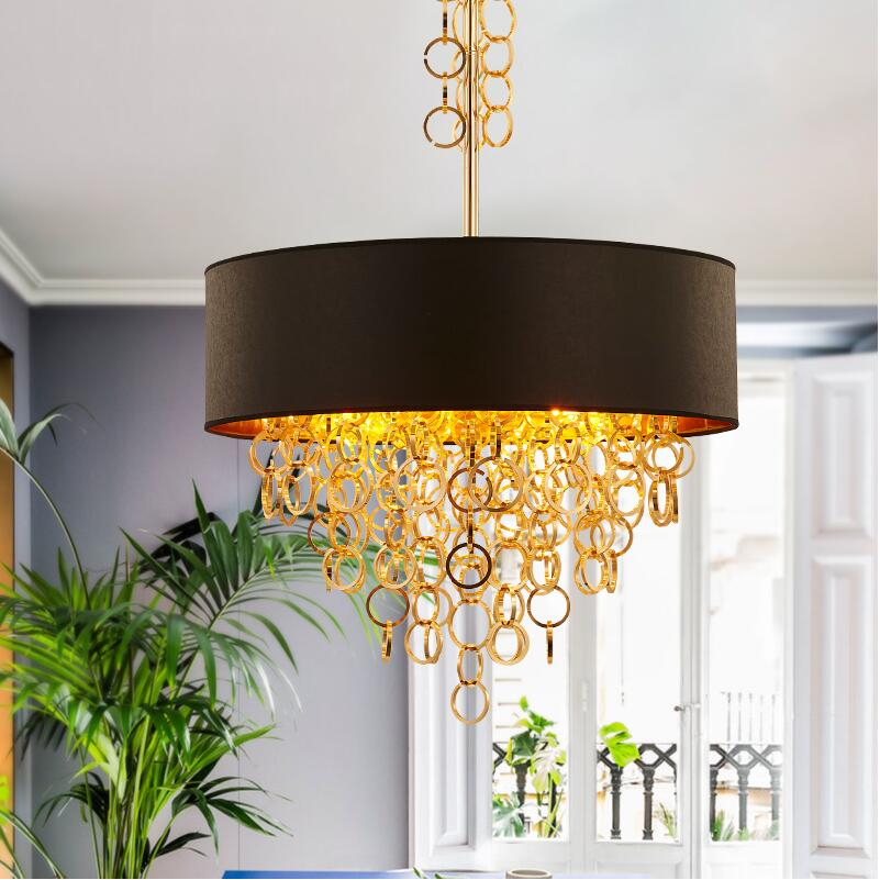 Creative Modern gold metal tassels black+gold fabric shade Pendant lights lamps hanging light for Dining room Bedroom Hotel black white creative pendant light ac220v 110v e27 metal modern led lamp pendant light lamp dia32x24cm hanging lamps for bedroom