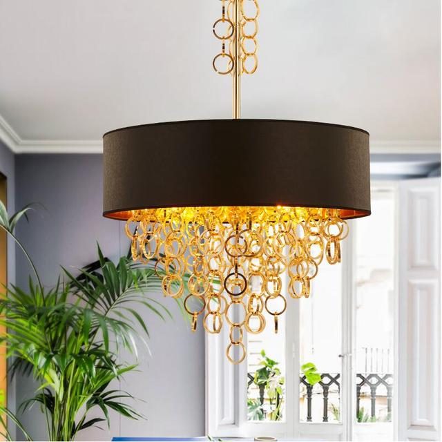 Creative Modern Gold Metal Tassels Black+gold Fabric Shade Pendant Lights  Lamps Hanging Light For
