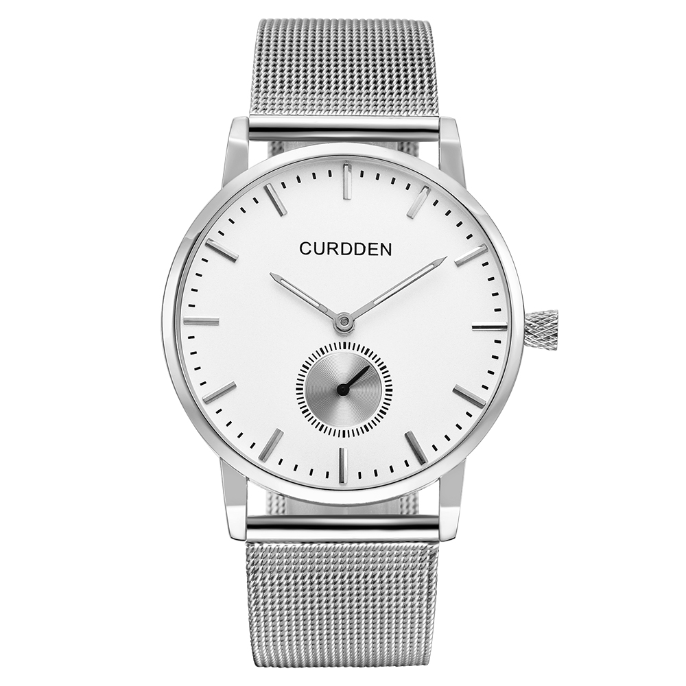 2018 Hot Sale CURDDEN Fashion Silver Couple Watch Stainless Steel Waterproof Minimalist Reloj Hombre Mujer Acero Inoxidable Lujo