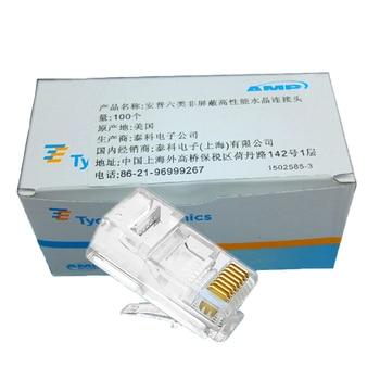1 caja de AMP RJ45 CAT6 de cabeza de cristal amp cable de cabeza de cristal 8P8C de cabeza de cristal 100 Uds por caja