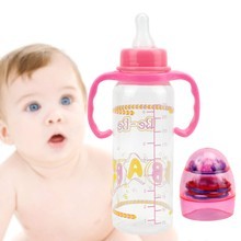Baby Feeding Bottles  Kids Durable Straw Cup Drinking Bottle Sippy Cups With Handles Cute   Feeding Bottle PP Plastic