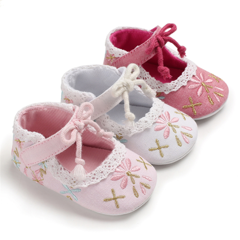 Baby Embroidered Shoes Bowknot Toddler Soft Sole Shoes Priincess Shoes Fashion