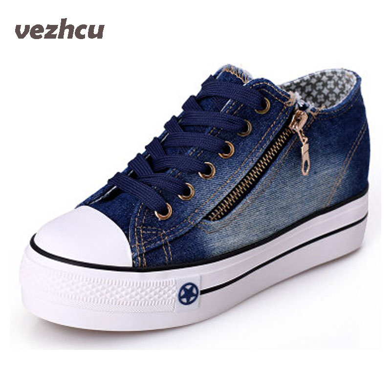 цены VZEHCU Casual Women Canvas Platform Shoes Woman Fashion Lace Up Loafers Breathable Woman Denim Flats Shoes Plus Size 35-40 3e17
