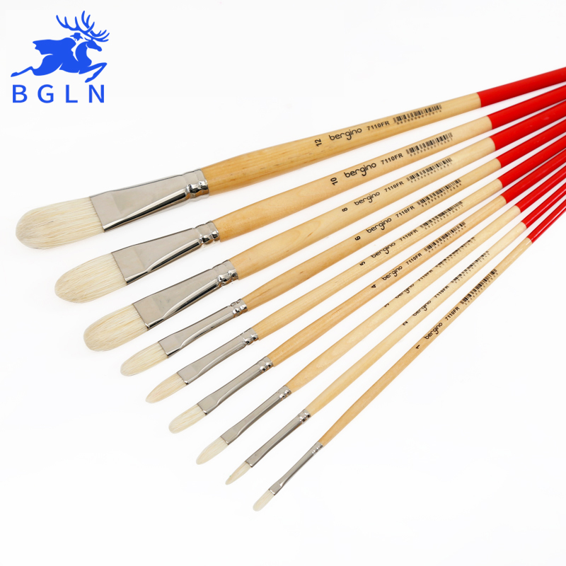 BGLN 1Piece Master Bristle Nail Round Oil Painting Brush Solid Wood Pole Artist Oil Acrylic Paint Brushes  Art Supplies 7110FRBGLN 1Piece Master Bristle Nail Round Oil Painting Brush Solid Wood Pole Artist Oil Acrylic Paint Brushes  Art Supplies 7110FR