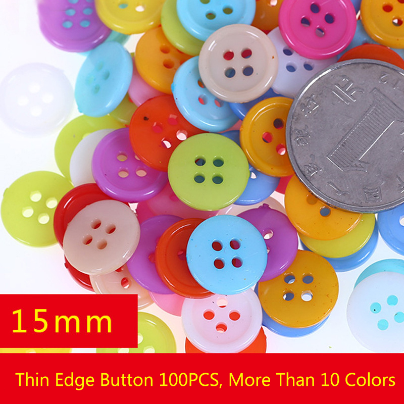 100pcs/set Mix Sewing Accessories Plastic Buttons Double Hole Random Mixed Color DIY Scraping Beautiful Colorful Button Kids Toy
