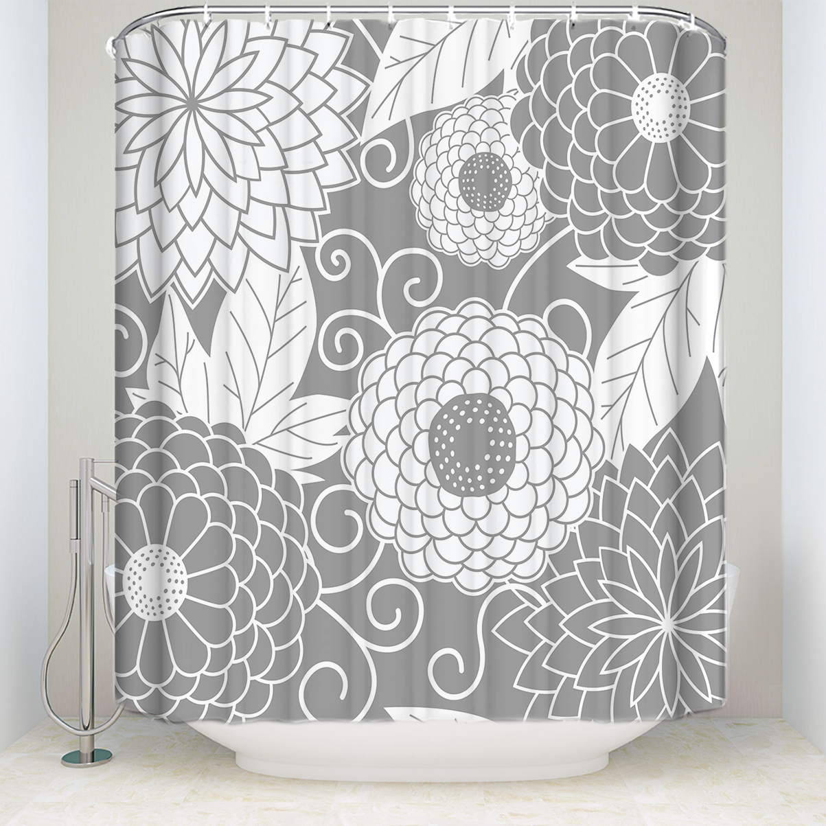New Arrival Waterproof Japanese Floral Printed Shower Curtain