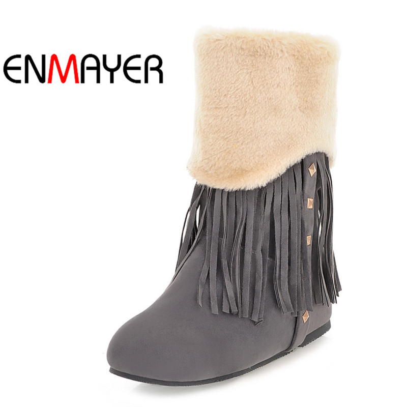 ENMAYER Plus Size 34-42 Fashion Women Boots Round Toe Ankle Snow Boots Slip-on Women Shoes Brown Yellow Female Winter Boots enmayer hot new fashion round toe lace up flat ankle snow boots for women winter boots shoes large size 34 43 platform shoes