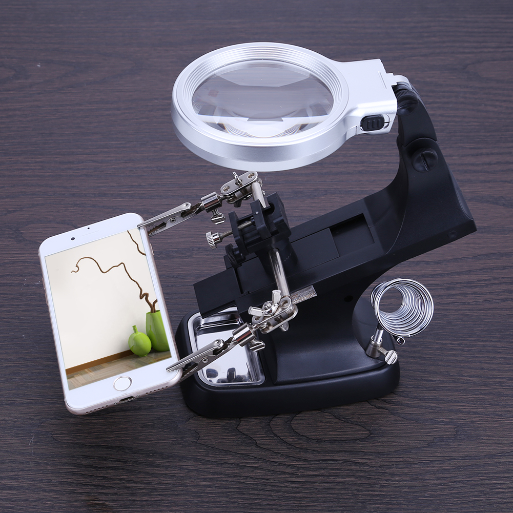 Welding Magnifying Glass LED Auxiliary Clip Magnifier 2 Exchangeable Lens Hand Soldering Solder Iron Stand Holder Station