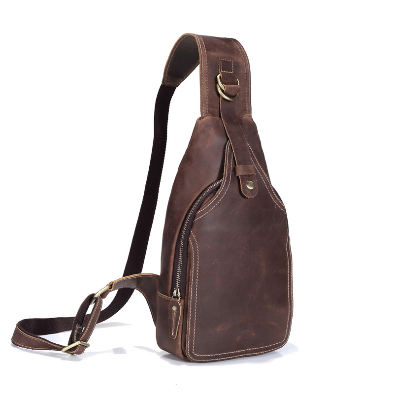 Nesitu Brown Vintage Real Skin Genuine Leather Women Man Chest Bag Crazy Horse Leather Men Messenger Bags #M8113 curren m8113