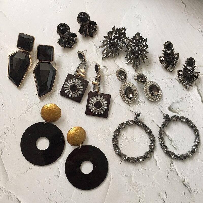Ztech 32 Za Black Flower Beaded Dangle Drop Earrings For Women Gift Geometric Crystal Resin Statement Pendant Jewelry