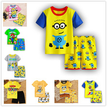 Baby Pajamas Kids Boys Girls Clothes Sleeved Set Minions Children's Sleepwear 2019 Summer Short Top With Pants For Girl
