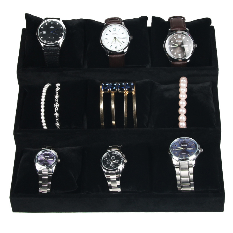 9 Grid Slots Jewelry organizer Watches Boxes Display Storage Box Case Velvet Square jewelry Storage withWatch Soft Pillow Black