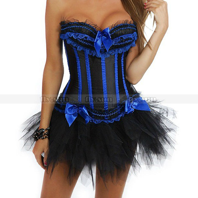 bde1edf190 Black + Blue Overbust Trimmed Corset Top With Padded Cup Lace Up ...