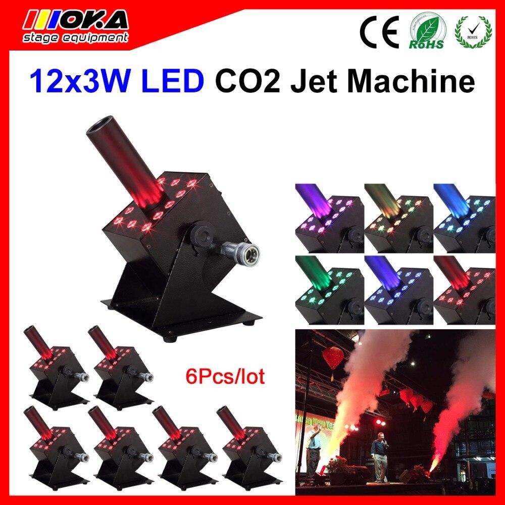 6Pcs/Lot NEW Design LED CO2 Column Jet Stage FX Machine CO2 Fog Machine Kryo FX Blaster for Night Club Disco