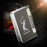 New 1pcs focus 027 cigarette box automatic cigarette ejection cigarette case with lighter metal personality men