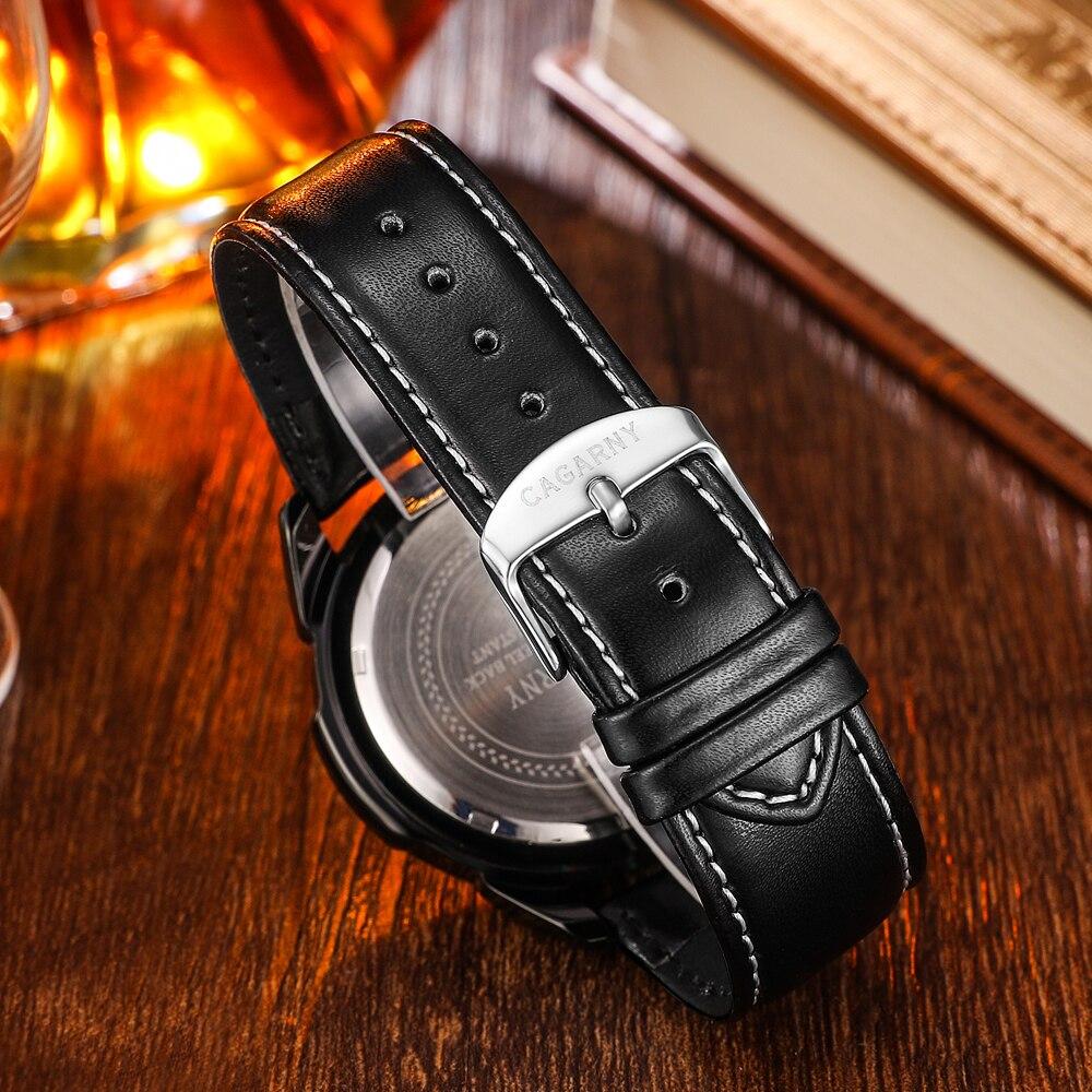 quartz wristwatches leather strap sports watches casual mens wrist watch black case (6)