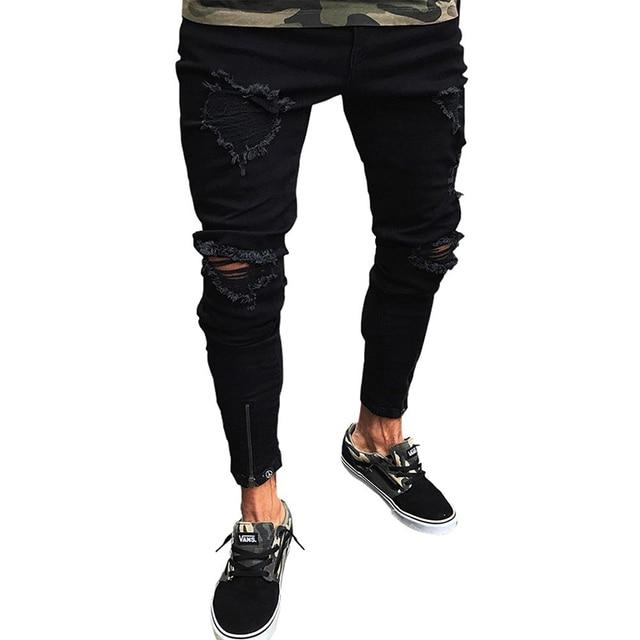 חדש גברים מגורר חור ג 'ינס איש סקיני מכנסיים ברך Ripped חור נהרס במצוקה מכנסי עיפרון נמתח ג' ינס מכנסיים