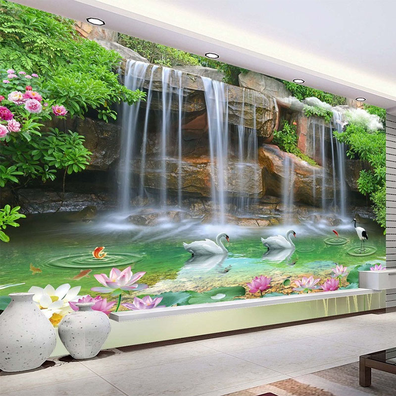 Us 8 77 53 Off Custom Photo Wallpaper 3d Nature Scenery Waterfall Swan Mural Living Room Tv Sofa Backdrop Wall Decor Wallpaper Roll For Wall 3d In