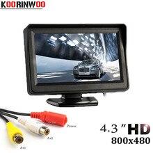 Koorinwoo HD 미니 4.3 인치 모니터 디지털 tft lcd 800*480 대시 주차 비디오 시스템 주차 지원 2 RCA 화면 자동차
