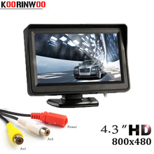 Koorinwoo hd mini 4.3 polegada monitor digital tft lcd 800*480 in dash estacionamento sistema de vídeo assistência 2 rca tela para carro