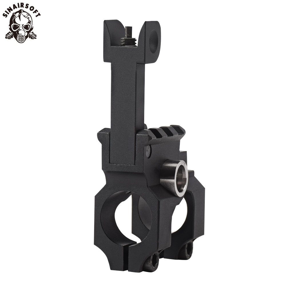 SINAIRSOFT Tactical Clamp-On Gas Block with Folding Front Sight CNC Aluminum Machined Iron Sight For Rifle Hunting Accessories