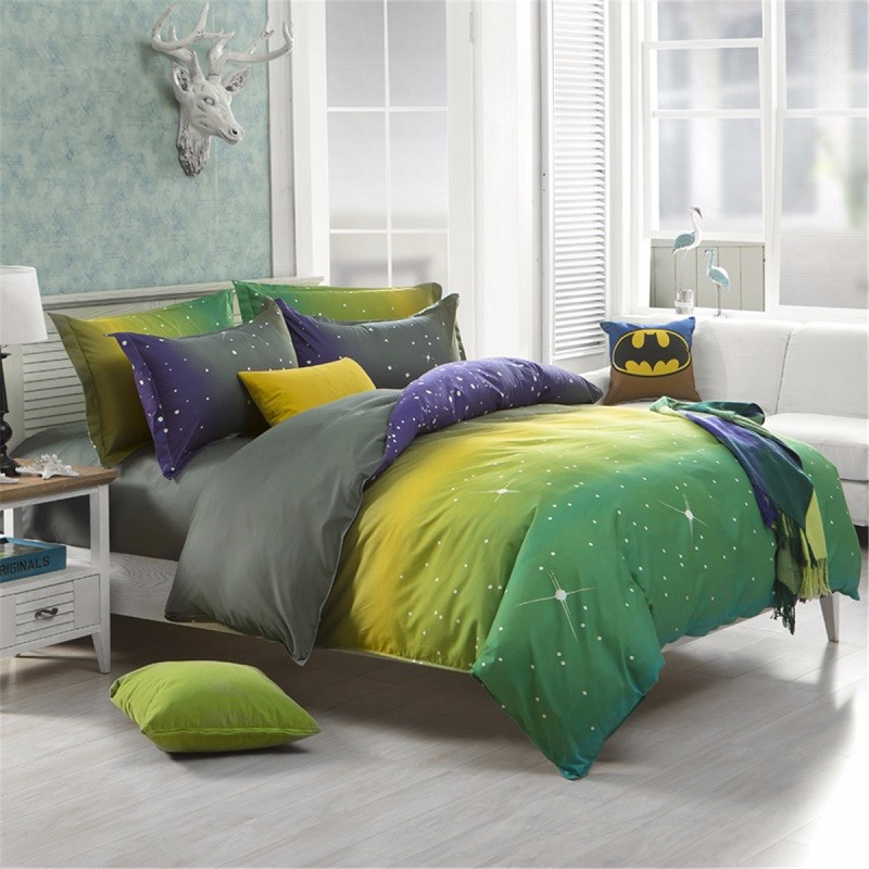 magical colorful dream star bedding set polyester fiber quilt duvet cover bed sheet pillowcase single double - King Size Bed Sheets