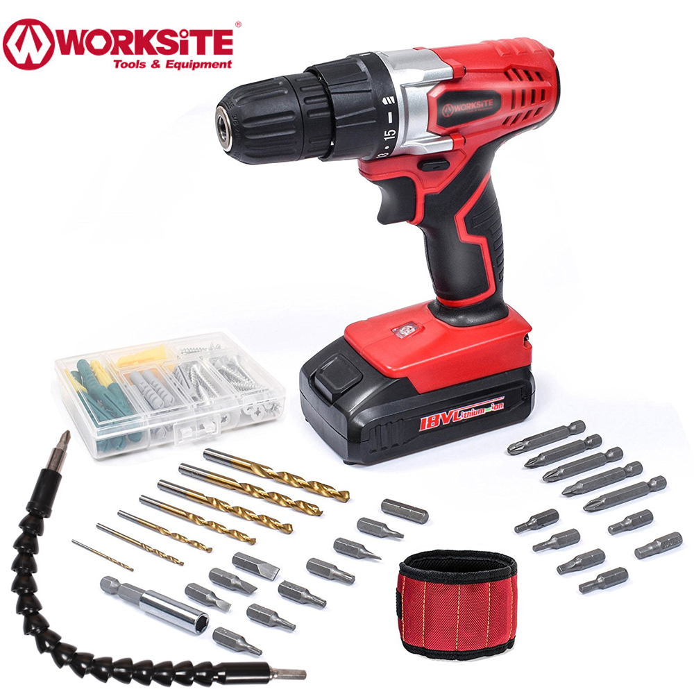 Rechargeable 18V Electric Screwdriver Cordless Drill Lithium Battery WORKSITE Built in LED Light Power Tool with