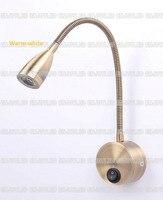 220v 3w Warm White LED Flexible Gooseneck Reading Lamp Wall Bedside Light Rotation Arm Touch Switch Stalk Lamp Golden Aluminum