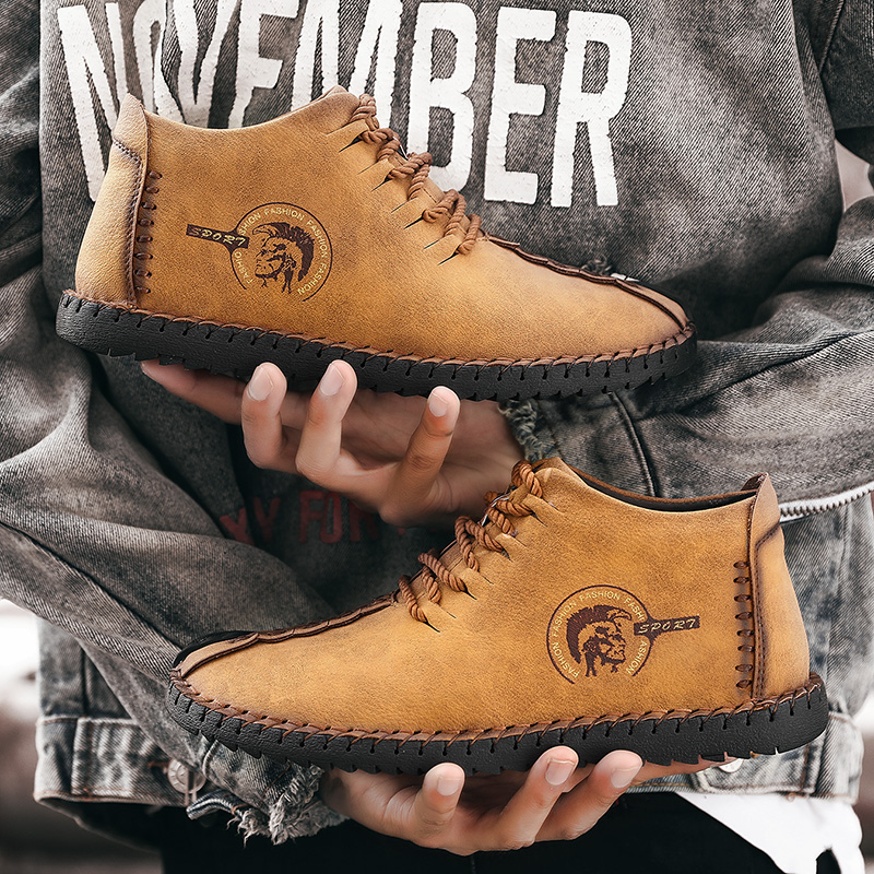 2019 Fashion Men Boots High Quality Split Leather Ankle Snow Boots Shoes Warm Fur Plush Lace-Up Winter Shoes Plus size 48 13