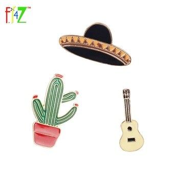 Broches Vintage para mujer, broches de Cactus a la moda, planeta guitarra,...