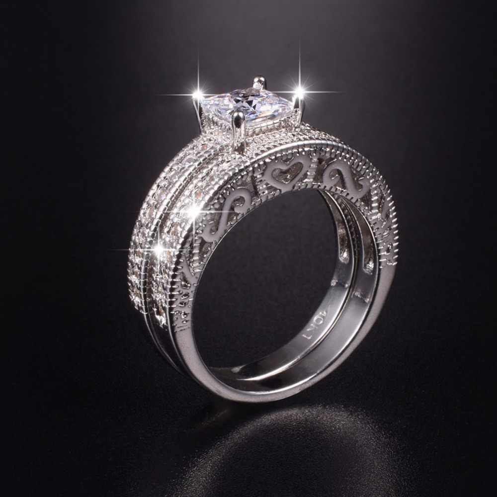 Engagement 10kt White Gold Plated Ple