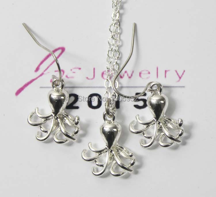 Fashion Jewelry Caribbean Octopus Vintage Silver plated Long Octopus Necklace Earring Sets JS122
